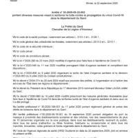 Covid-19 : nouvel arrêté à compter du 23-09-2020